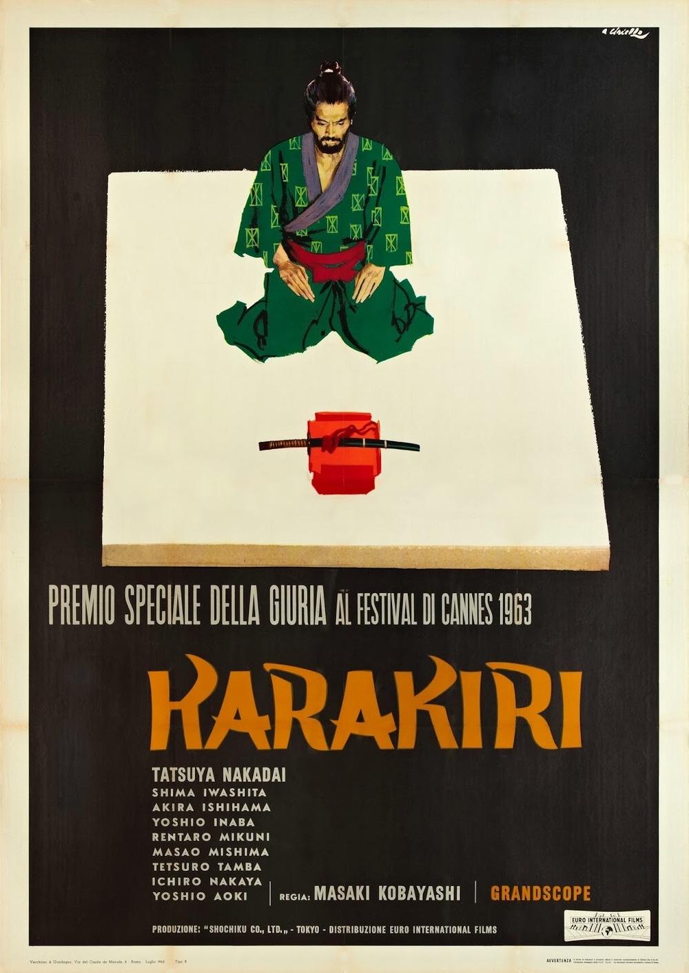 Italian movie poster for  Harakiri , 1962, courtesy of  japanesemovieposters.blogspot.com .