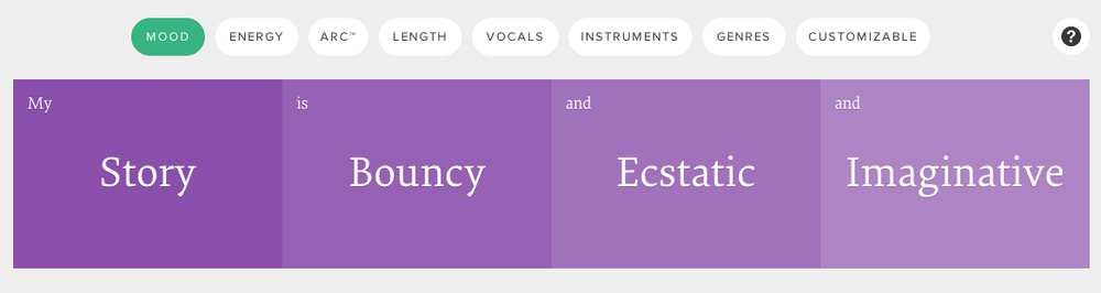 Marmoset's interactive search tools let you filter songs to match the mood of your story.