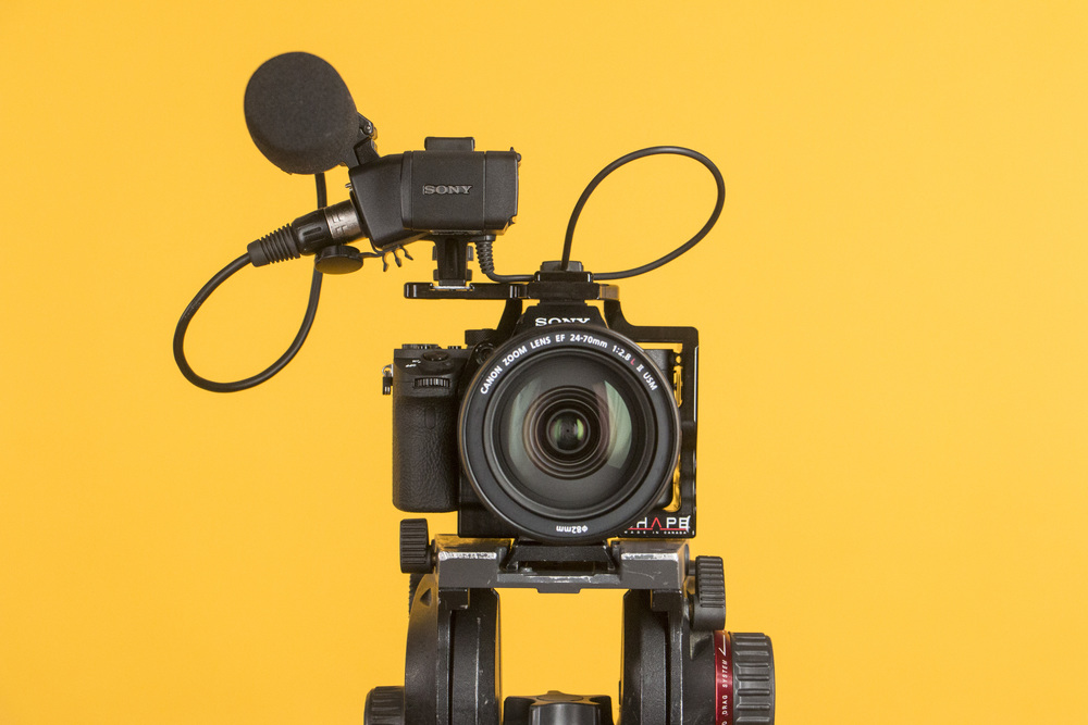 The Sony XLR K1M has a cable that allows you to connect to the camera separately from the hot shoe