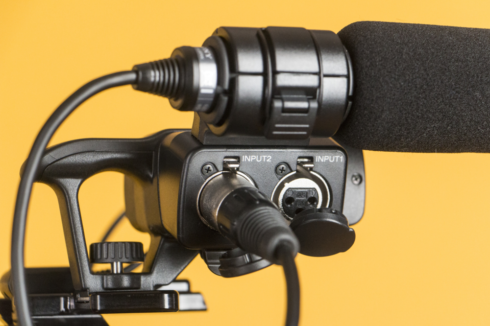 The black foam windscreen on the Sony XLR K1M