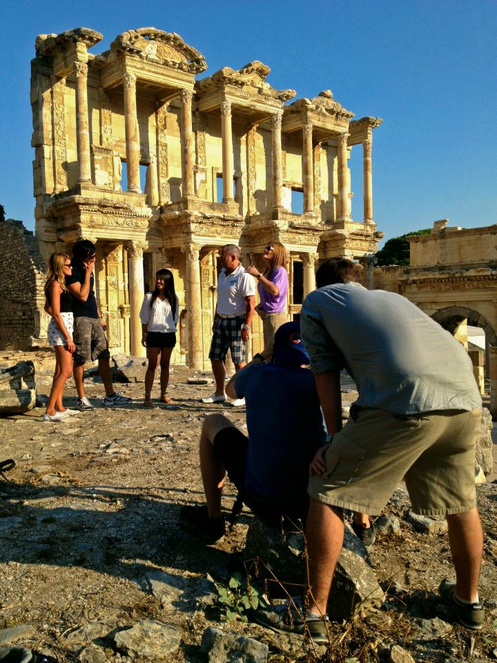 On set in Ephesus, Turkey