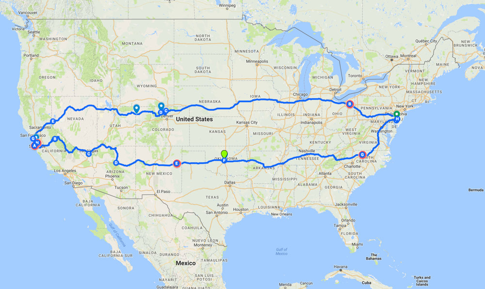 Trip path, totaling over 6,600 miles.  Interactive map here, via Google Maps