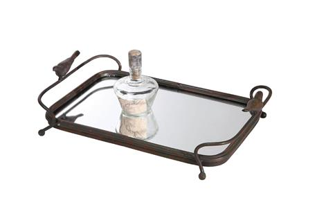 "15-3/4""L Metal Mirrored Tray w/ Bird Handles"