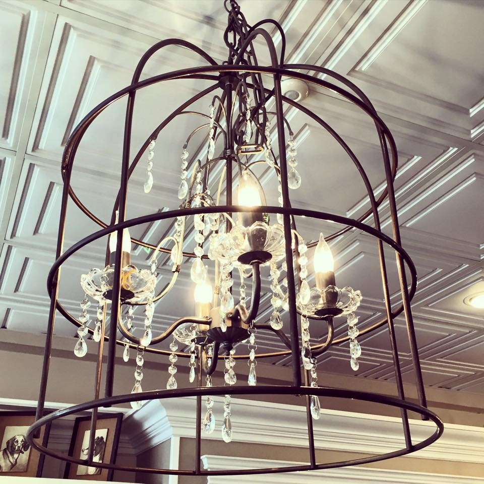 This is one of my favorite chandelier! *Metal birdcage with crystals *21' round x 25'H