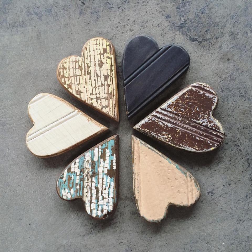 "4""H Wood Heart Shaped Magnet, 6 Styles"