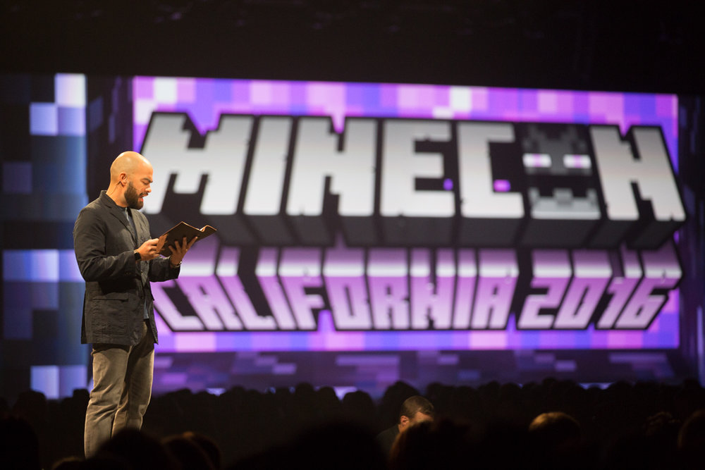 Reading the opening chapter of the as-yet-unpublished Max Brooks Minecraft novel during its announcement at MINECON 2016.