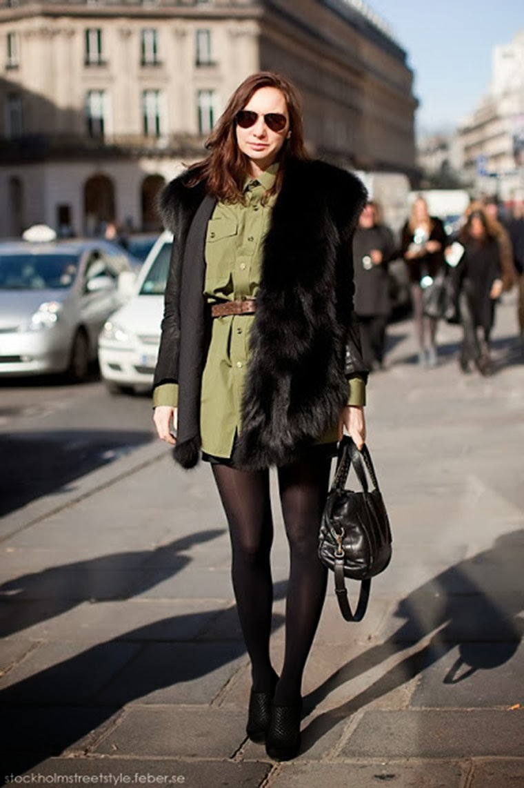 chic black fur adds texture to a military dress (image c/o pretty stems blog)