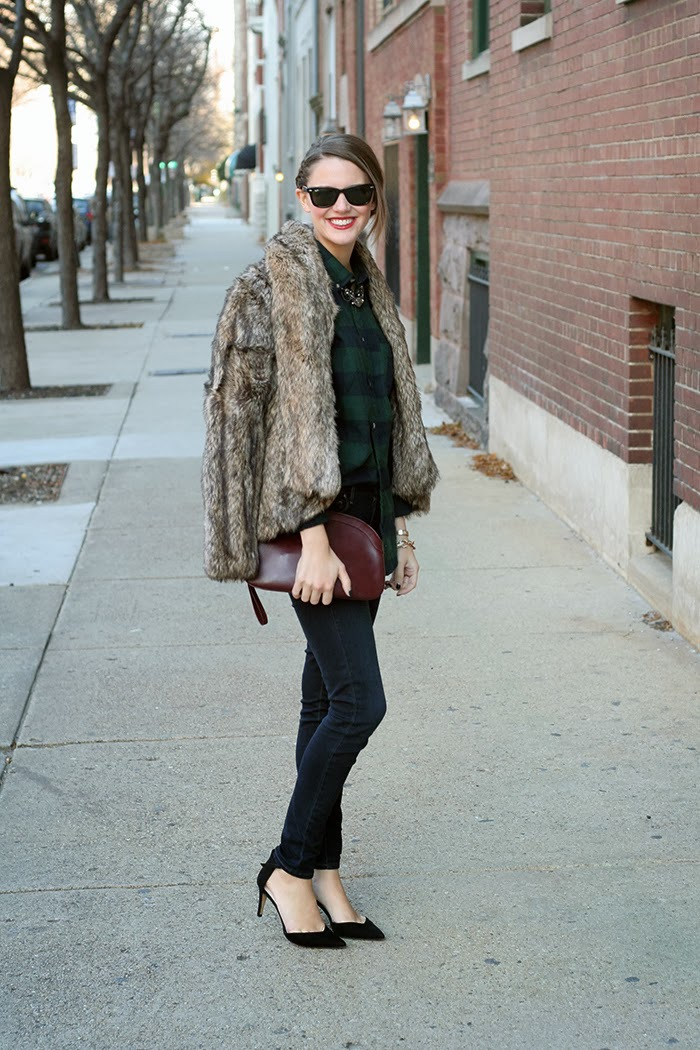 What I'm Wearing: Sunglasses: Ray Ban,  Coat: BB Dakota, Shirt:H&M, Necklace: Borrowed, Purse: Vintage, Jeans: Paige, Shoes:Zara