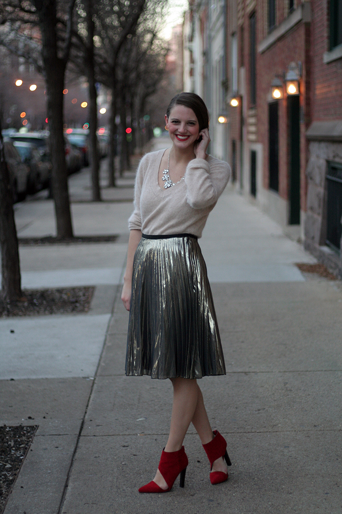 Sweater: Banana Republic (old), Skirt: Rachel Roy, Necklace: c/o Shamelessly Sparkly, Shoes: Jeffrey Campbell