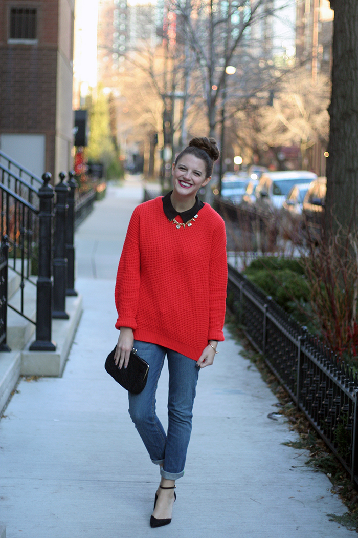 Sweater: Asos, Shoes: Zara, Jeans: Similar, Necklace: c/o Shamelessly Sparkly, Purse: Vintage, Lips: Givenchy