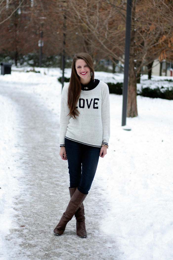 Sweater: From Fox's Chicago (similar below), Necklace: c/o ShamelesslySparkly, Jeans: Paige, Boots: BCBG (similar)