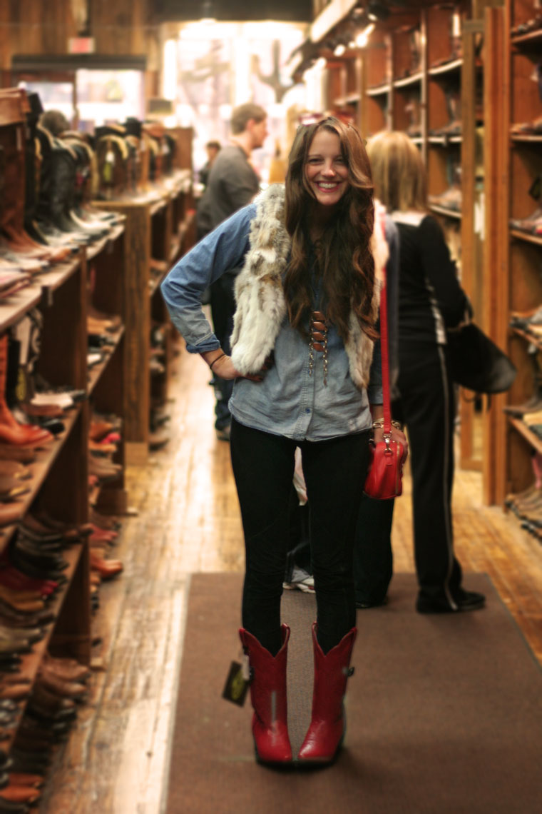 Playing dress up in these cherry red replicas of my favorite cowboy boots I had when I was a little girl. I didn't buy the red pair, but I did get an awesome black pair you can see here