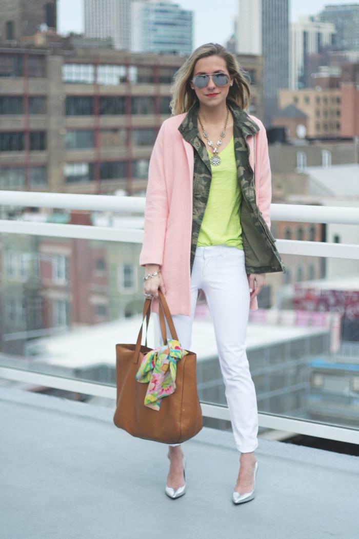 white pixie pants|neon t-shirt|camo jacket|pink overcoat|tan tote|metallic pumps|necklace|bracelet