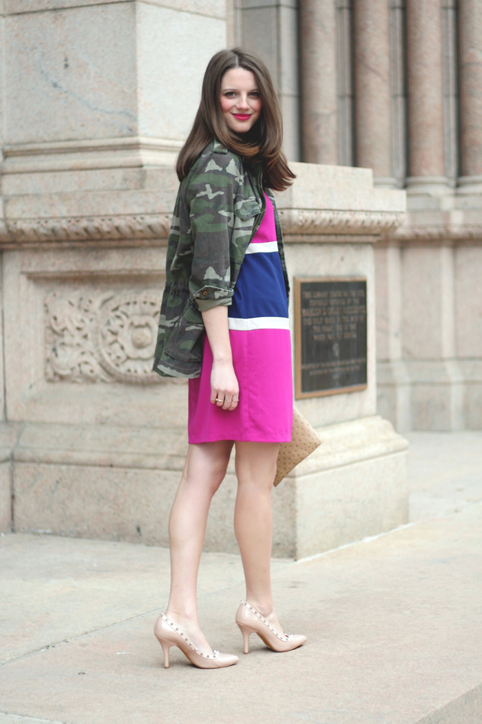 Dress: Le Tote (c/o), Shoes: Steve Madden (similar), Purse: Francescas (similar), Jacket: Urban Outfitters (similar)