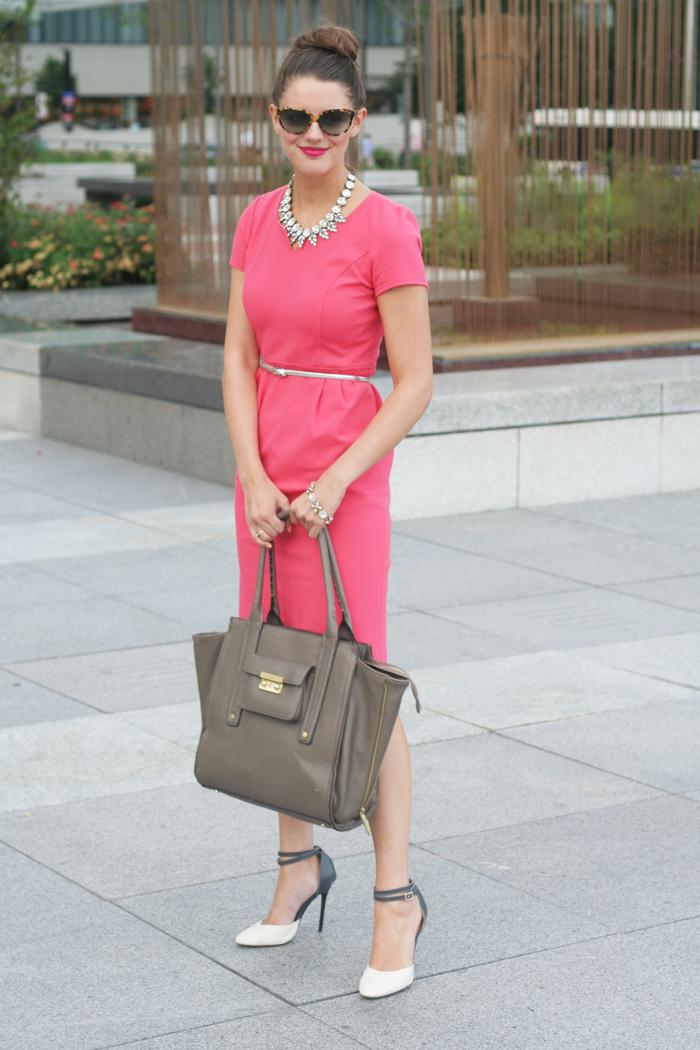Dress: Dobbin Clothing (c/o), Shoes: Gilt (similar), Bag: Phillip Lim for Target (similar), Belt: J.Crew, Necklace: Shamelessly Sparkly (c/o), Bracelet: Shamelessly Sparkly (c/o).