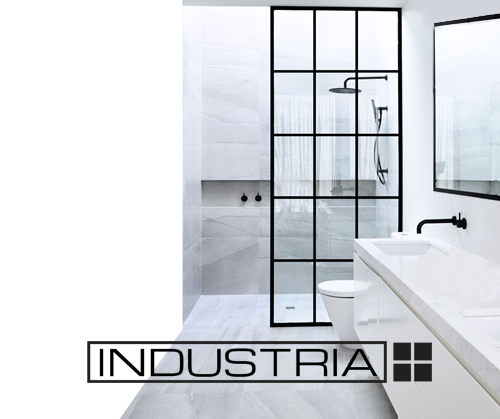 INDUSTRIA™ - A proprietary Matte Black polymer that when affixed to your glass around the edges including varying sized square patterns, give the impression of a hard edged French Industrial window.