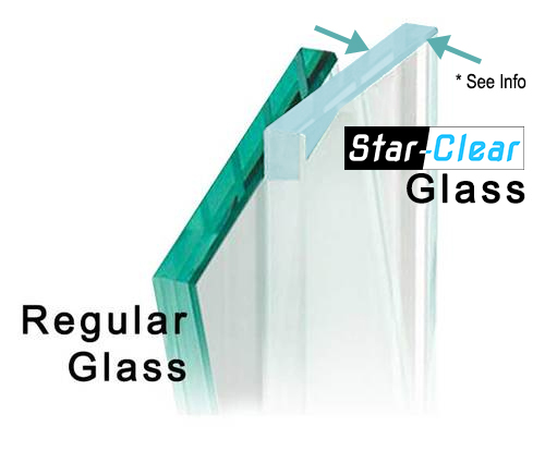 - *For Your InformationPlease note that Star-Clear glass is only 100 % clear when you hold a small piece of it in your hand.Once Star-Clear is installed with silicone up against your wall tile, marble or porcelain many customers report that the glass has a very Milky Blue look along the edge.No need to be alarmed, it is very normal for the edges of the glass where silicone is applied. The rest of the glass is exceptionally clear and certainly worth the investment in a Star-Clear option!