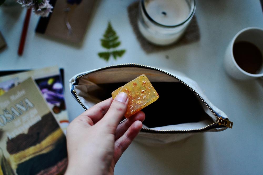 soap in knitting bag