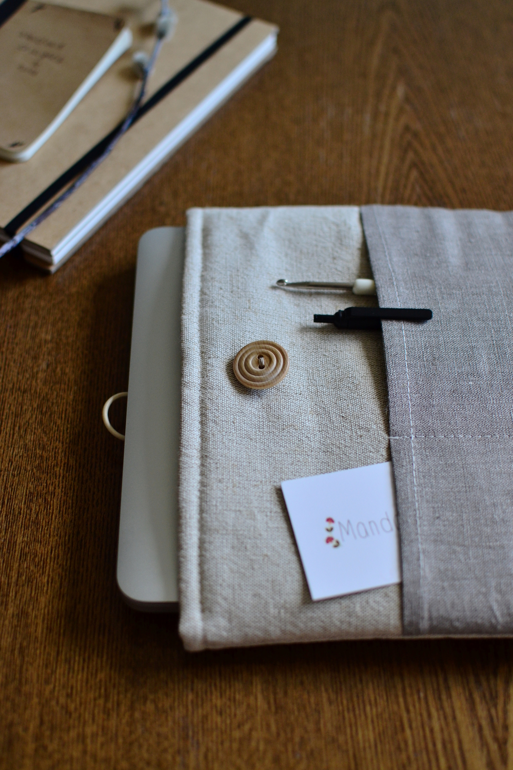 linen laptop case -bluecase-