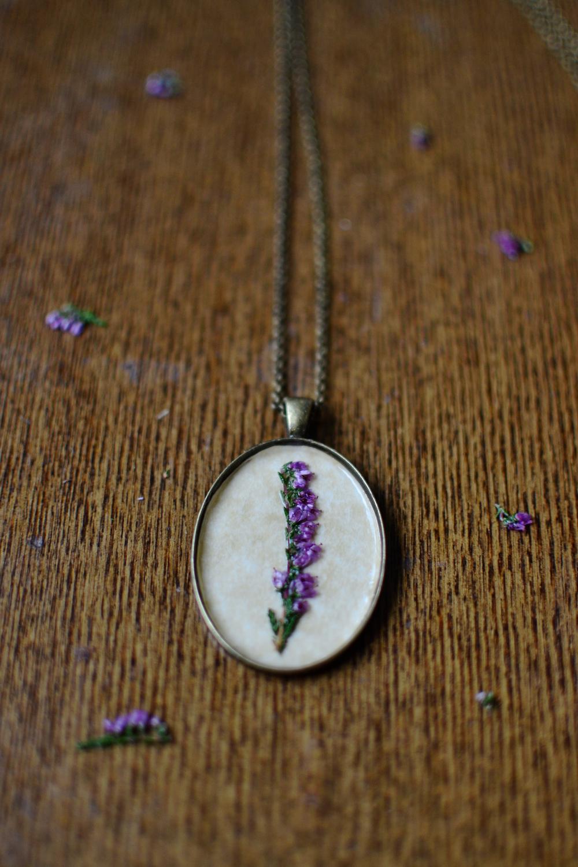Botanical pressed, antique pendant Heather