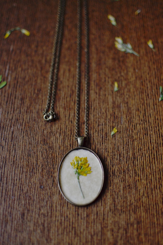 Botanical pressed, antique pendant