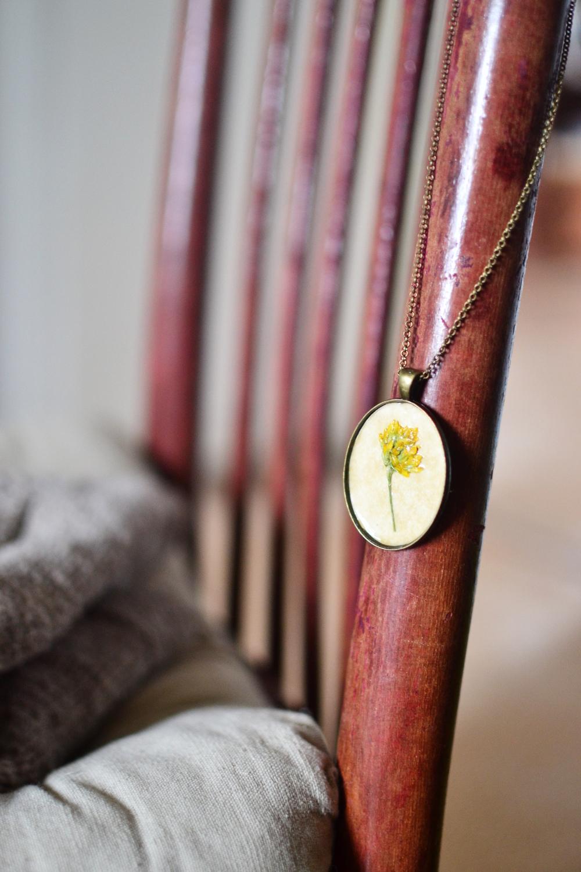 Botanical pressed antique pendant