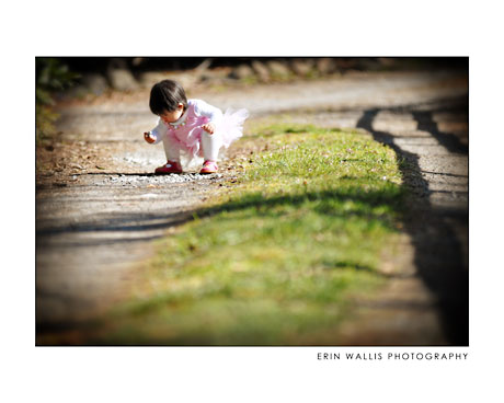 little girl in tutu on the road