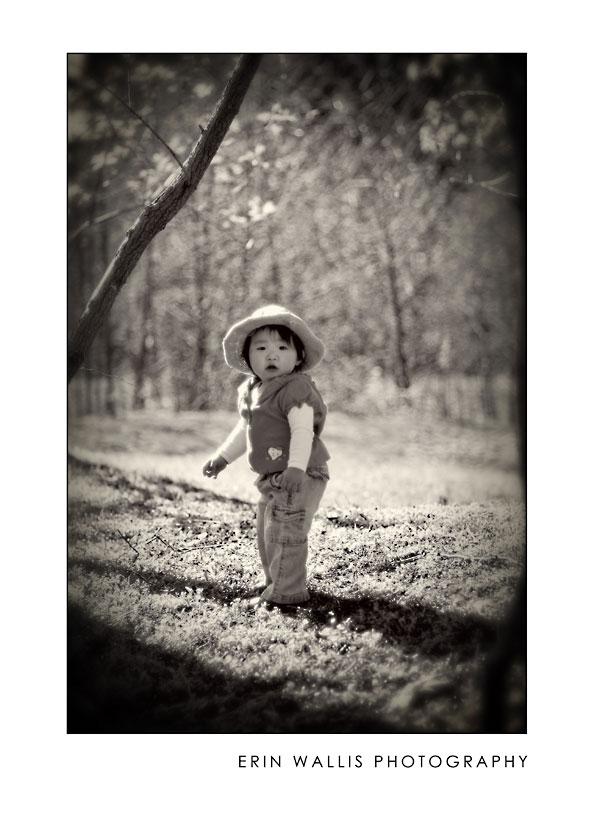 Little girl looking back