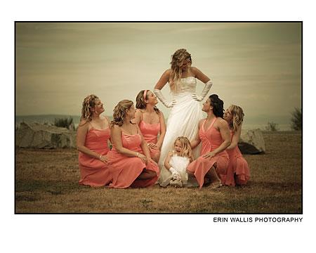 Bride and onlooking bridesmaids