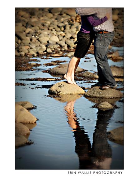 Feet on rocks reflecting in water