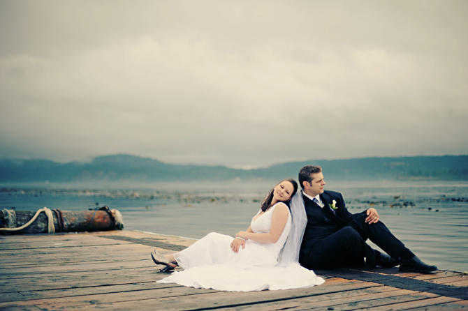 Wedding couple on the dock at Dolphins Resort, Campbell River