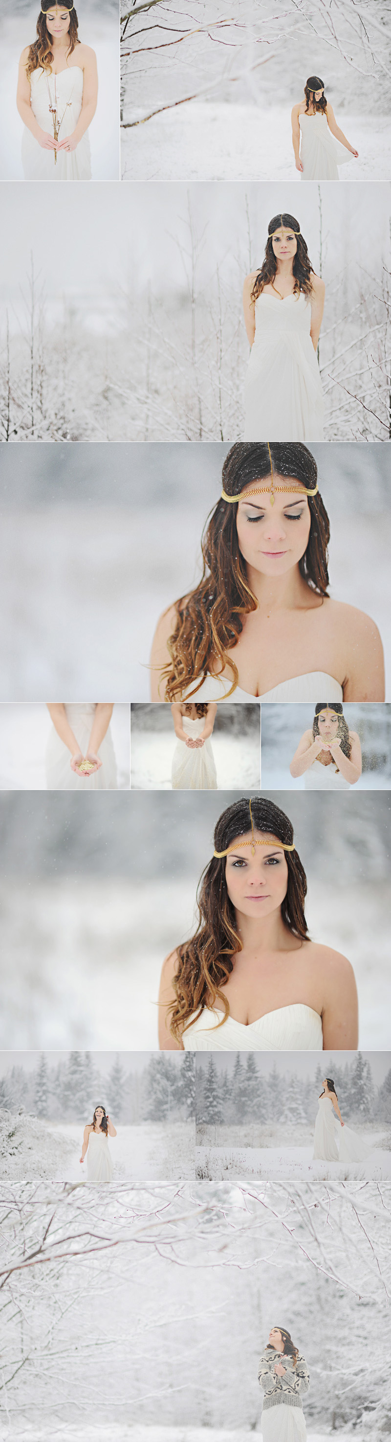 snowy bridal photo, bride in snow, gold glitter bride, headpiece