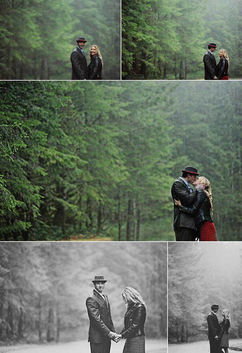 couple kiss in the rain