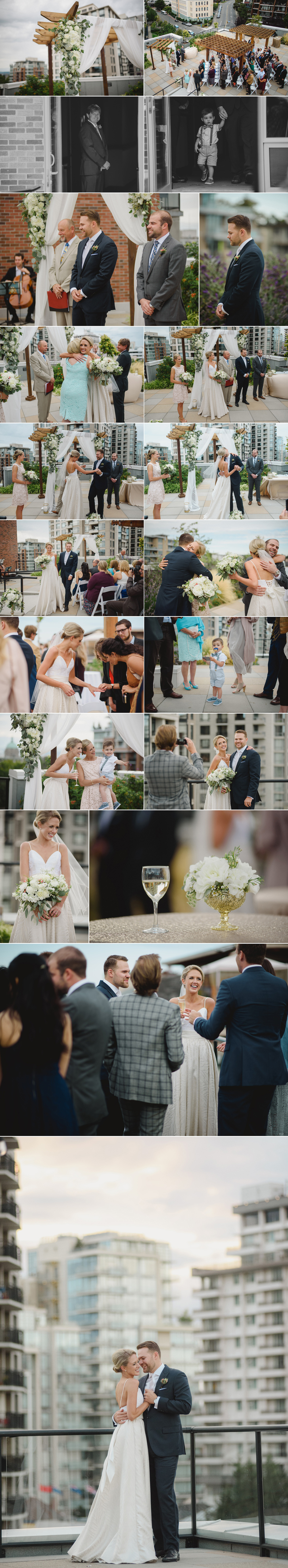 parkside wedding, victoria bc, rooftop wedding ceremony, city wedding, city chic wedding, erin wallis photography