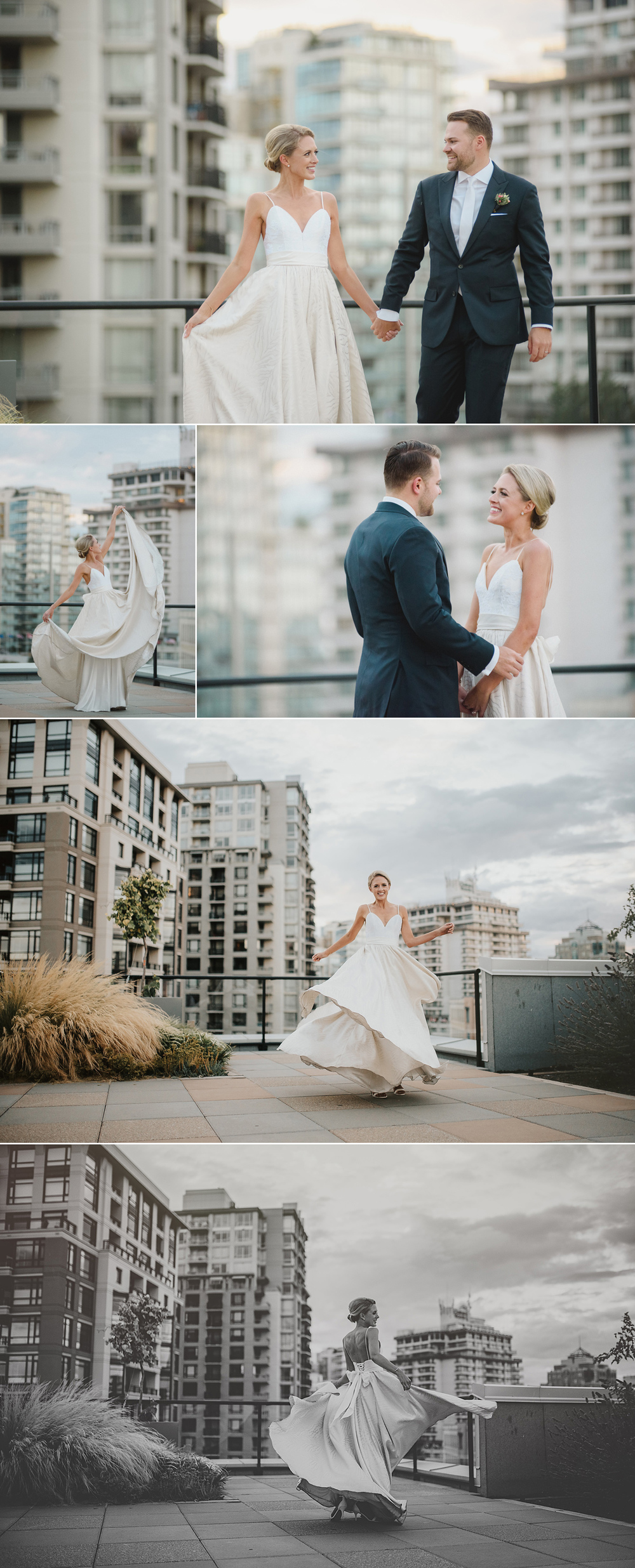 city scape, city wedding, roof top wedding, roof top wedding photos, erin wallis photography