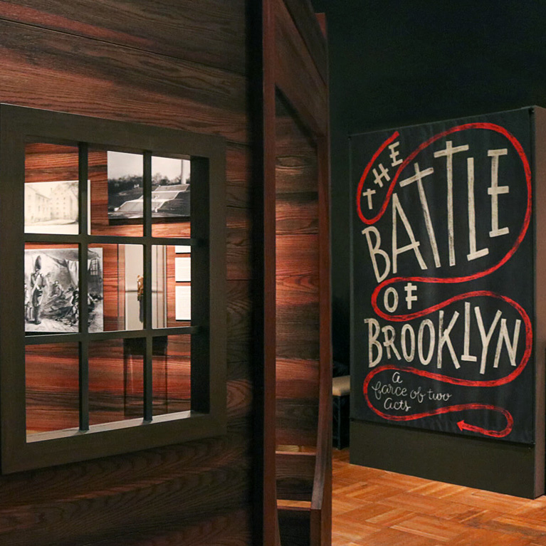 Banner Lettering and Design for The  New York Historical Society 's Exhibition  The Battle of Brooklyn.  Photography courtesy of  The New York Historical Society