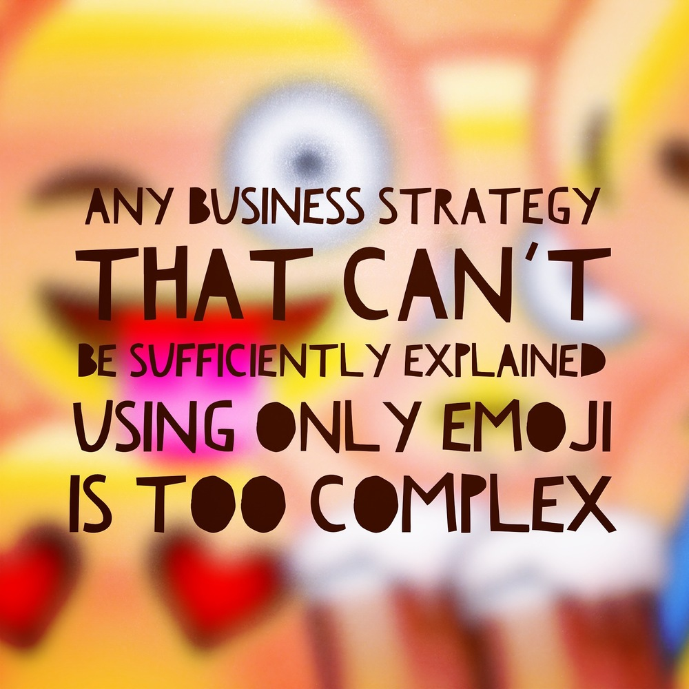 Any business that can't be explained in emoji is too complicated emoticons quote of the day QOTD