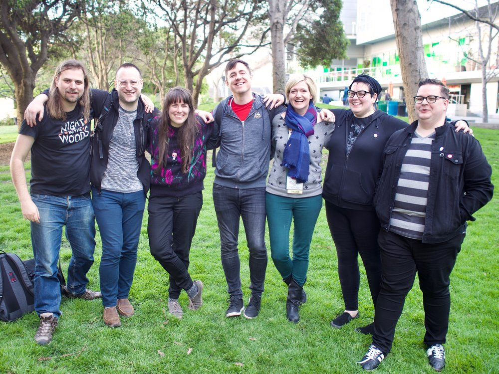 Team Night in the Woods, on the last day of GDC 2018. From left to right: Jon Manning, Alec Holowka, Em Halberstadt, Adam Saltsman, Rebekah Saltsman, Bethany Hockenberry, Scott Benson. Photo taken by Felix Kramer.