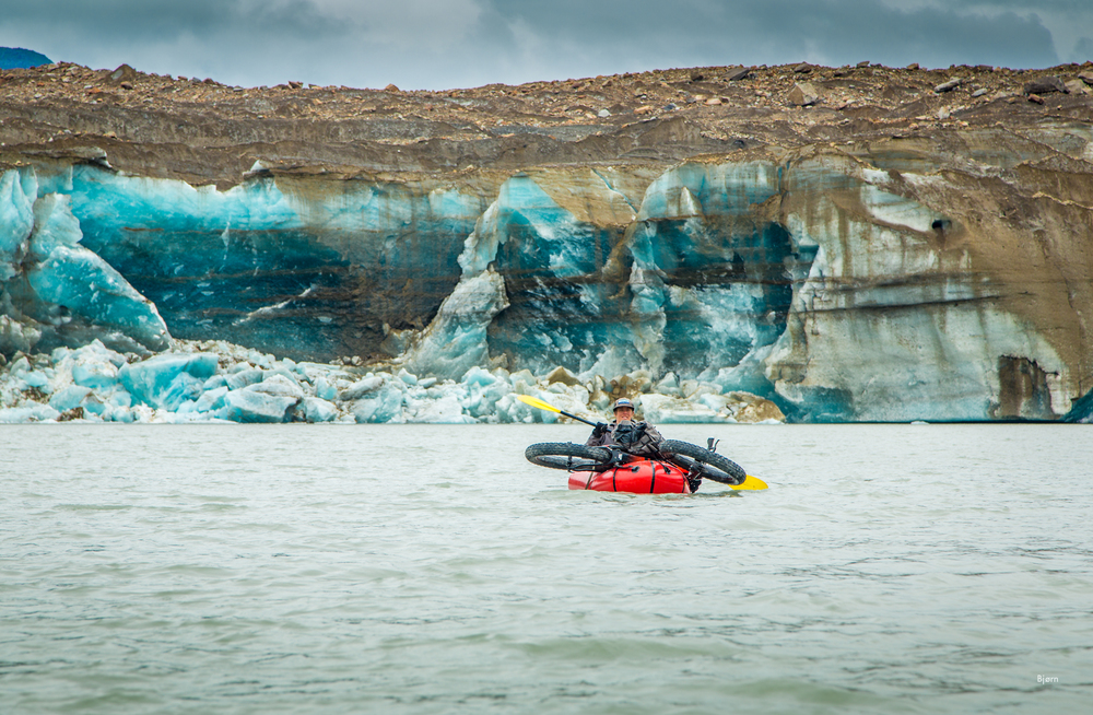 Kim McNett paddles in front of Taylor Glacier in Southeast Alaska.
