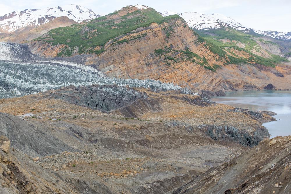 Taan Glacier with landslide debris.