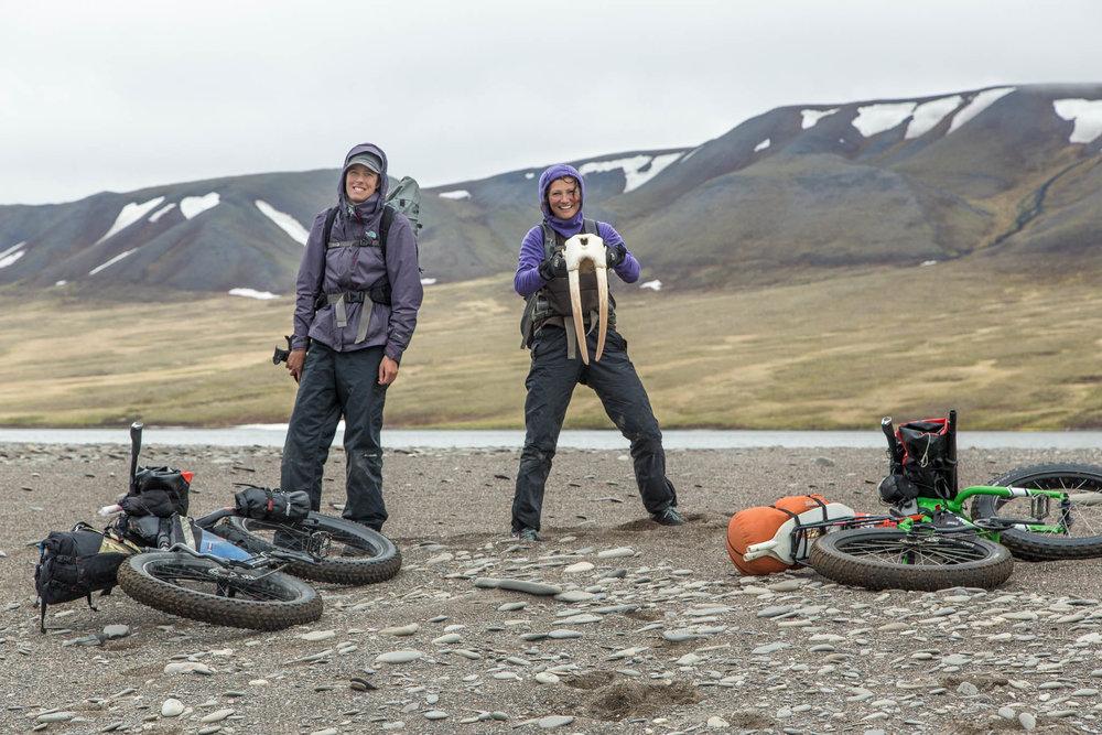 Alayne and Kim find a walrus skull - Arctic Alaska.