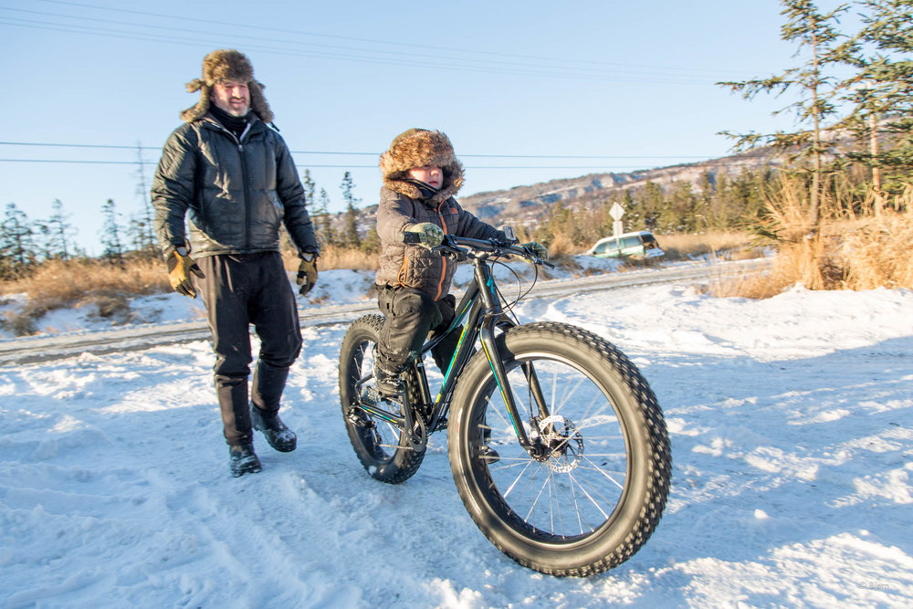 Sammy learns to ride a fat-bike - Homer.
