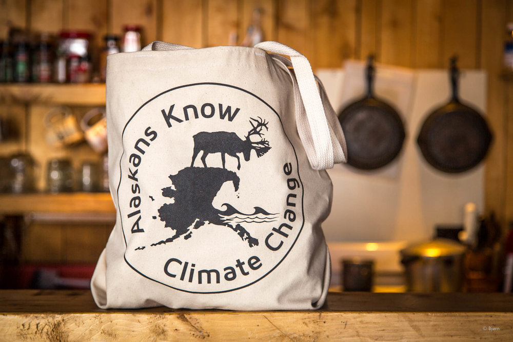 Alaskans Know Climate Change tote bags.