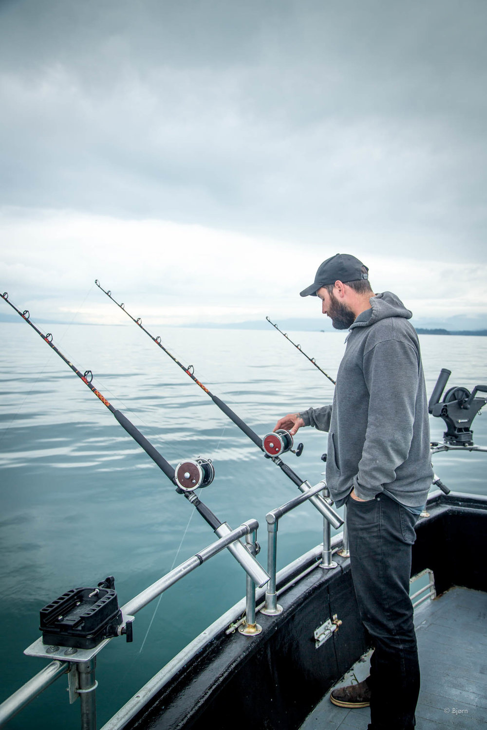 Billy fishing for halibut - Kachemak Bay, Alaska.