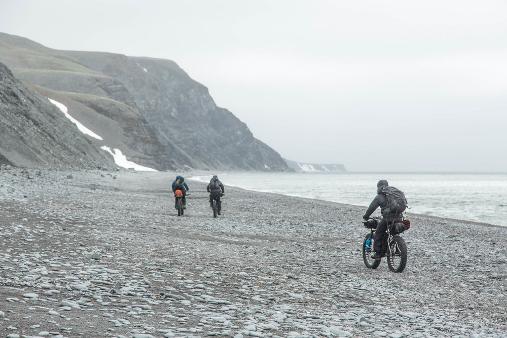 Beach biking toward the Lisburne Hills - Arctic Alaska.