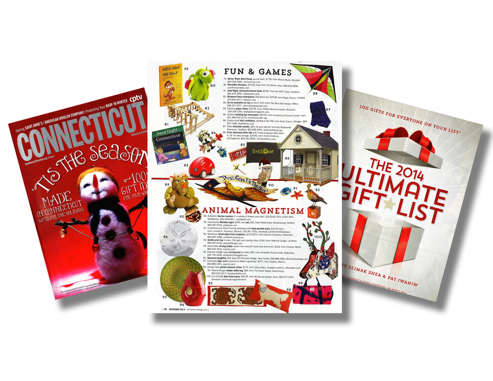 2014 - Connecticut Magazine Ultimate Gift List - Bellamy Eagle and Santa Owl