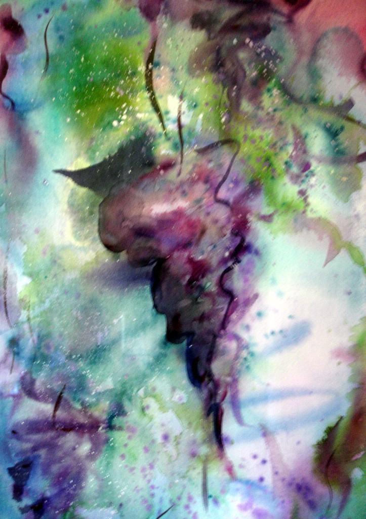 """wisteria, 2001, 14""""x20"""" watercolor on cotton paper"""