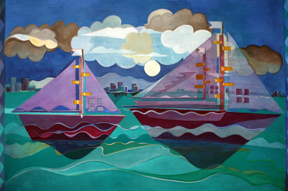 "Boats III, 2008, 58""x48, acrylic on canvas, private collection Jill Wittmer"