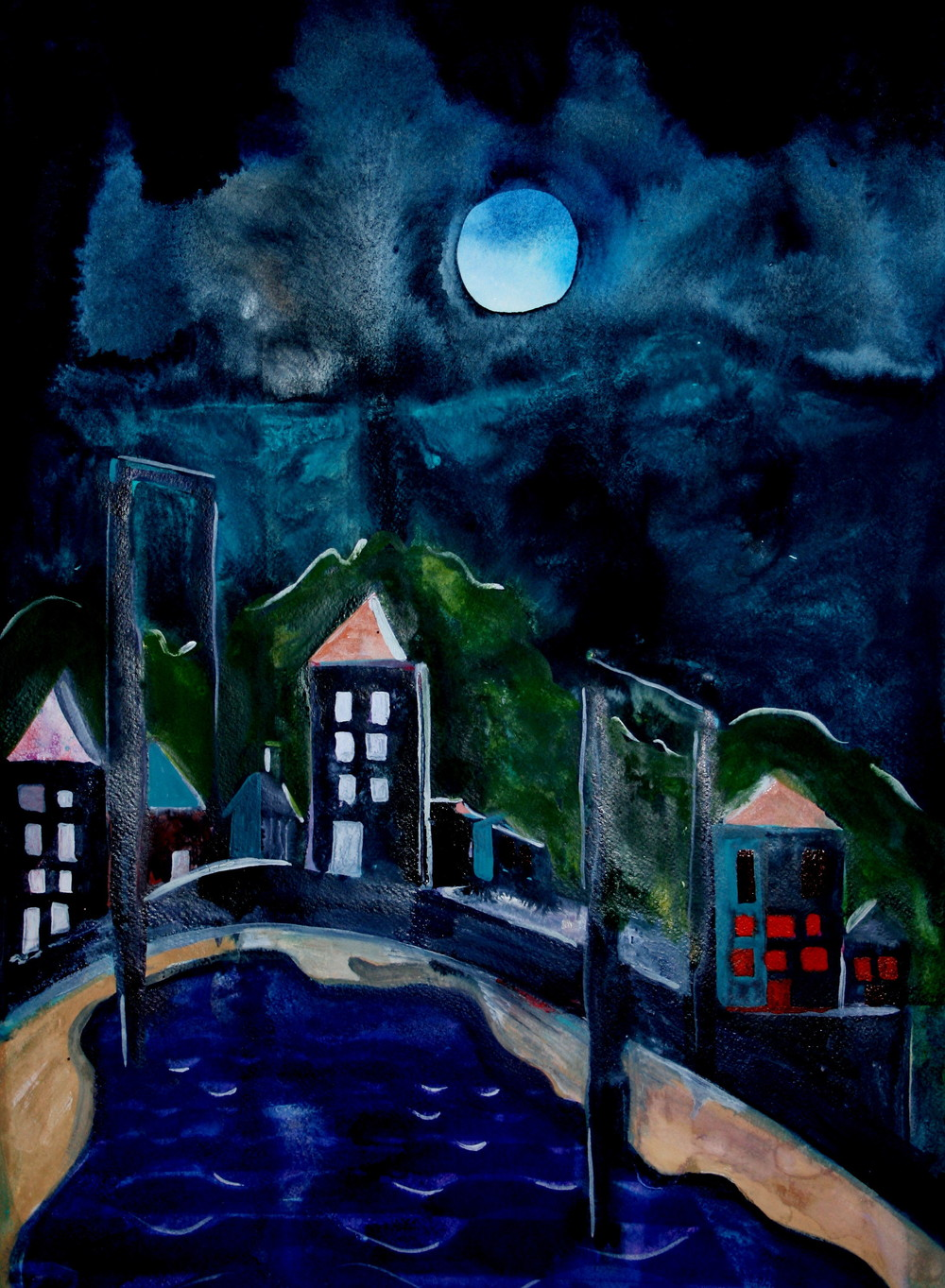 Night of Darkness, 2008, watercolor on paper