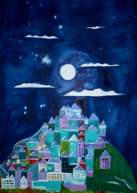 "Bliss Hill, 2008, 18""x24"" watercolor on paper,  private collection Jared Green"
